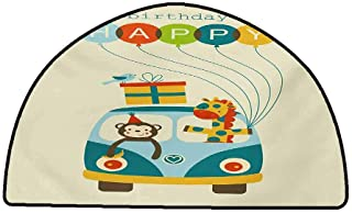 Anti-Fatigue Comfort Mat Kids Birthday,Blue Hippie Bus with Monkeys Giraffes Balloons Surprise Box Artwork Print,Multicolor,W31 x L20 Half Round Kitchen Floor mats