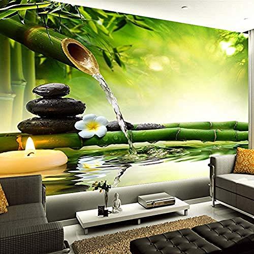 XHXI Papel tapiz fotográfico 3D Sala de estar Bambú verde Agua corriente Paisaje natural Decoración de interio Pared Pintado Papel tapiz Decoración dormitorio Fotomural sala sofá mural-400cm×280cm