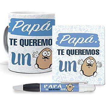 Regalo Padre. Pack. Taza, libreta Mini y boli Papá, te Queremos un ...