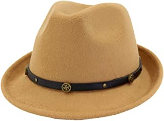Fascinator Jazz Hat Size 56-58CM Women Men Fedora Hat with Leather Belt Winter Wool Hat (Color : Coffee, Size : 56-58)