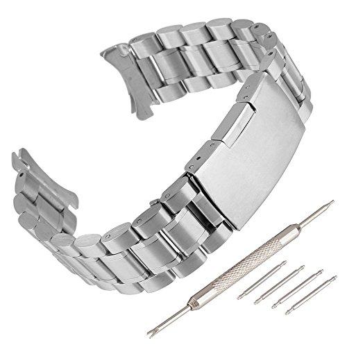 Beauty7 20mm Silber Edelstahl Uhrenarmband Uhrenarmbänder mit Faltschließe Metall Uhr Armband mit 4 STK Federstege und Federstift