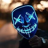 HONGXUNJIE LED Purga Mascara Carnaval Terror MáScaras,MáScara Disfraz Luminosa,para Carnival Navidad Halloween Cosplay Grimace Festival Fiesta Show Mascarada (Blue)