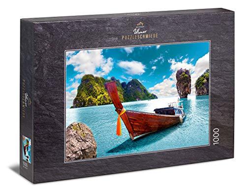 Ulmer Puzzleschmiede - Puzzle 'Paraíso': Puzzle de 1000 piezas - Imagen onírica de una playa de Tailandia con barcos en el agua