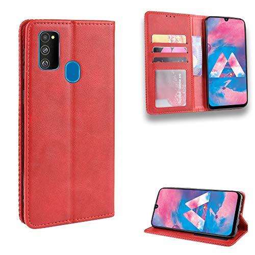 Snow Color Galaxy M30S Hülle, Premium Leder Tasche Flip Wallet Case [Standfunktion] [Kartenfächern] PU-Leder Schutzhülle Brieftasche Handyhülle für Samsung Galaxy M30S - COBYU010215 Rot