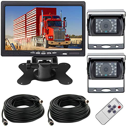 "Rückfahrkamera mit Monitor,12-24V 4Pin 2 x 18LEDs Wasserdicht Nachtsicht Rückfahrkamera mit 15M Luftfahrt Kabel +7\""TFT LCD HD Farbmonitor Anzeige für große LKW/Bus/Wohnmobil/Anhänger"