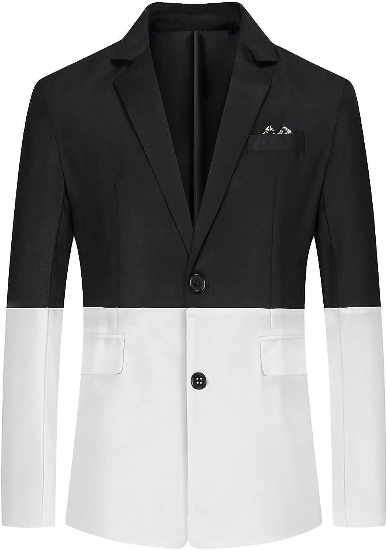 Men Colorblock Splicing Suit Blazer Casual Slim Fit Single Breasted Cotton Lightweight Daily Suit Jacket Sport Coat