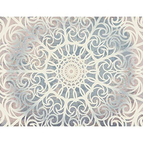 Fototapete Mandala Orientalisch 352 x 250 cm Vlies Tapeten Wandtapete XXL Moderne Wanddeko Wohnzimmer Schlafzimmer Büro Flur Blau Beige Weiss 9286011c