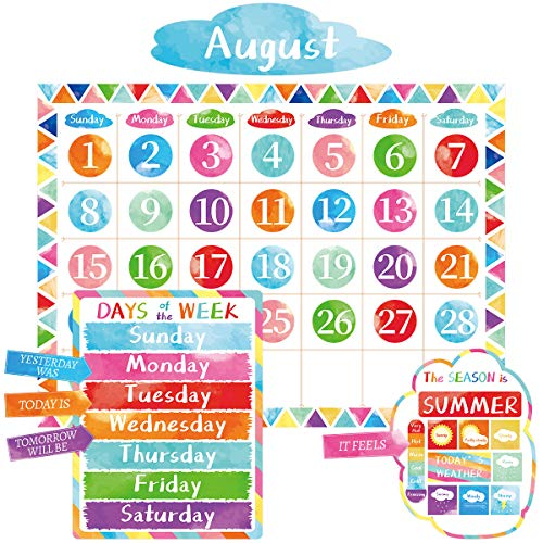 Watercolor Calendar Bulletin Board Set Colorful Classroom Decoration 110 Pcs