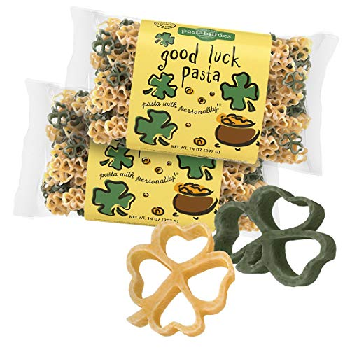Pastabilities Good Luck Shaped Pasta with Shamrocks for St Patrick's Day, Non-GMO Wheat Pasta 14 oz (2 Pack)