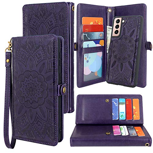 Harryshell Detachable Magnetic 12 Card Slots Wallet Case PU Leather Flip Protective Cover Wrist Strap for Samsung Galaxy S21 5G 6.2 Inch (2021) (Flower Purple) Alaska