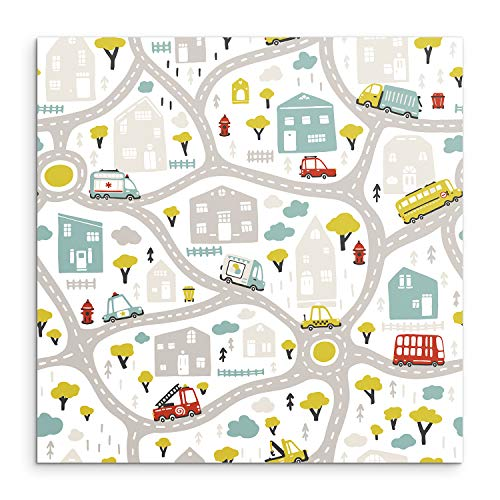 DON LETRA Alfombra Infantil de Carretera para Juego de Niños, Alfombra Cuadrada de 100 cm, Diseño de Ciudad, Vinilo, Grosor de 2 mm, ALV-078