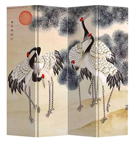 Fine Asianliving Paravent Raumteiler Trennwand Spanische Wand Raumtrenner Sichtschutz Japanisch Orientalisch Chinesisch L160xH180cm Bedruckte Canvas Leinwand Doppelseitig Asiatisch -203-111