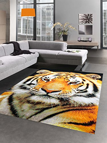 Tapis de design tapis de salon motif de tigre crème noire orange Größe 160x230 cm