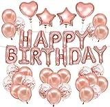 Skevic Decoración Fiesta de Cumpleaños Oro Rosa, Pancarta Feliz Cumpleaños Guirnalda Banner con Globos, Confeti, Corazón y Estrella para Mujer Niña Bebe Aniversario Bautizo Comunión Boda