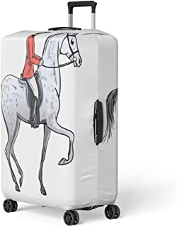Semtomn Luggage Cover Rider Man and Dapple Grey Horse on White Horseman Travel Suitcase Cover Protector Baggage Case Fits 26-28 Inch