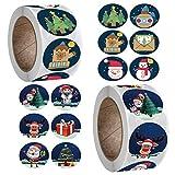 Autocollants De Noel Gommettes Noël Vacances Cadeau Autocollants, 1000Pcs Étiquettes Adhésives en Papier Kraft - Stickers Parfait pour les Cadeaux et Décorations de Noël, Pochettes-Surprise (2)
