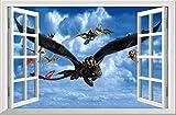 YFKSLAY Cómo Entrenar a tu dragón decoración de la Pared Pegatina Puerta decoración del hogar Arte de la Pared Regalo niños Interior PVC 40X60Cm