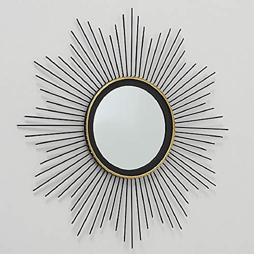 CasaJame Hogar Muebles Decoración Espejo de Pared en Forma de Sol Estilo Étnico Moderno Hierro Negro Ø 50 cm