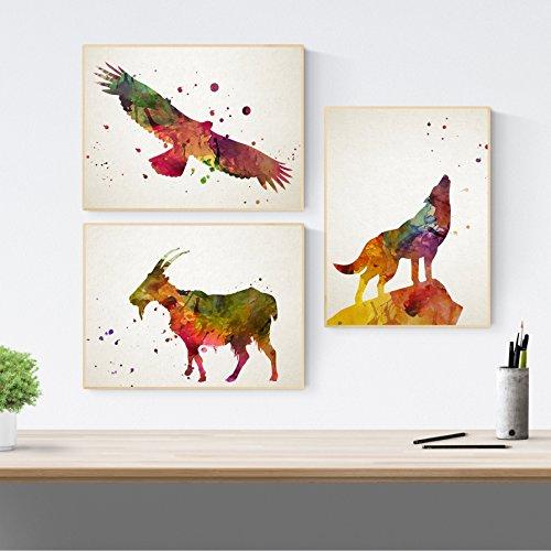 Set van 3 borden voor het decoreren van dieren. Posters op A3-formaat. Decoratie met afbeeldingen van dieren. 250 gram papier van hoge kwaliteit. Dierlijke afbeeldingen in waterverf om in te lijsten