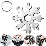 18-in-1 Snowflake Multi tool, Easy N Genius Stainless Steel Snow Multitools Bottle Opener-Screwdriver-Wrench, Cool Gadgets Gift Idea. (Silver)