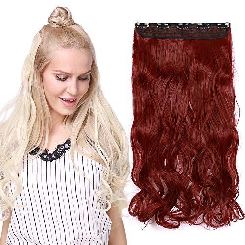 Monobande Cheveux A Clip Pour Extension Longue Rajout Cheveux A Clip Synthétique Cheveux Ondulé Une Pièce 5 Clips, 24 Pouces, Marron & Rouge Foncé