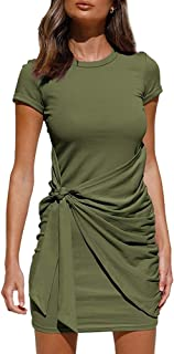 Women Summer Dresses Casual Short Sleeve Mini Dress Solid Elegant Ruched Tie Waist T Shirt Tunic Dress Size S-XXL