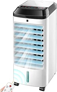 Portable Super Quiet Remote Control Cooling Fan, Personal Evaporative Coolers with Four Casters Humidifier, Small Air Cond...