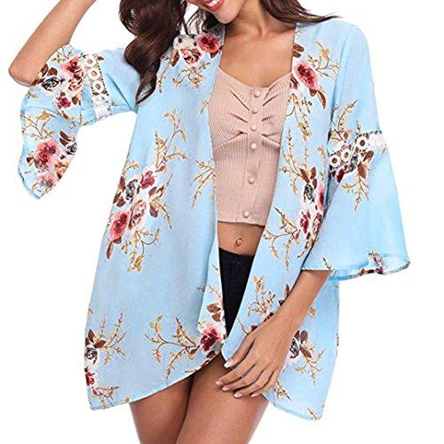 MRULIC Damen Florale Kimono Cardigan Boho Chiffon Sommerkleid Beach Cover up Leicht Tuch für die Sommermonate am Strand oder See (XL, X-Blau)
