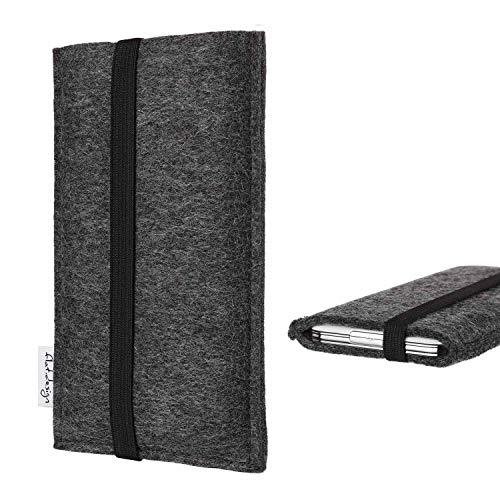 flat.design Handy Tasche Coimbra kompatibel mit Archos Access 45 4G - Schutz Hülle Tasche Filz Made in Germany anthrazit schwarz