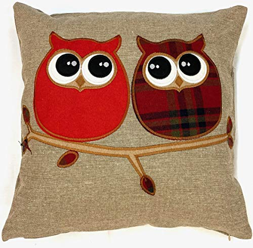 Supplied by Maple Textiles Cushion Covers, Wool Blend Cushions, Embroidered Owl Tartan Check, Pillow Covers, 18' x 18', 45cm x 45cm (Natural) Brown and Orange