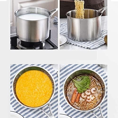 Wok Antiadherente Skillet Pan de acero inoxidable Cacerola de leche de acero multifuncional Pan para la cocina para el hogar Restaurante de cocina Cocina Compuesto de tres capas Milk Milk Pan