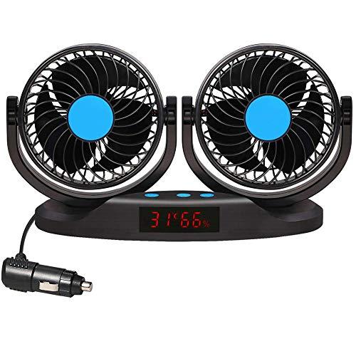 Queta Auto Ventilator Auto Kfz Lüfter mit 2 Geschwindigkeiten für Das Armaturenbrett und 360-Grad-Drehung Doppellüfter Einstellbare Ventilatoren 12V