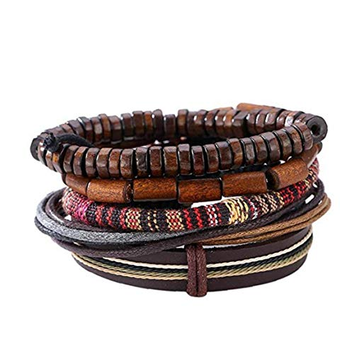 Leather Bracelet with Vintage Hippy Natural Wooden Beads Rope Braided Bangle Cool Leather Wristband Bracelet for Man Woman