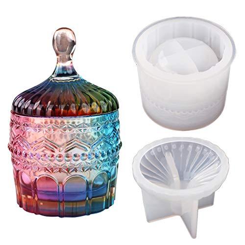 Caja de Resina con Tapas, Molde de Silicona para Joyas, tarro de joyería, caja de almacenamiento 3D, exquisito y duradero, Cajita Joyero Resina de Epoxy Silicona Moldes