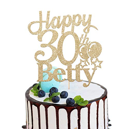 EDSG Personalised Name and Age Birthday Cake Topper. Happy Birthday Cake Topper. 18th, 21st, 30th, 40th, 50th, 60th Cake Topper. Non-shed Double Sided Glitter Cake Decoration | 5 Colours