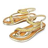 gracosy Sandalias Planas Verano Mujer Estilo Bohemia Zapatos para Mujer de Dedo Sandalias Talla Grande Cinta Elástica Casuales de Playa Chanclas Romanas de Mujer 2020 Rhinestone de Moda