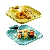 AWYGHJ Platos de cerámica para Sushi, Juego de 2 Piezas, vajilla Japonesa Grande para Sushi, Juego para 2, para Aperitivos, Platos Principales, ensaladas, bocadillos, postres
