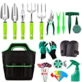 52 Pieces Garden Tools Set, Heavy Duty Gardening Tools with Non-slip Rubber Handle, Durable Storage Tote Bag, Pruning Shears, Knee Pads, Garden Gloves, Plant Labels, Gardening Supplies Gifts for Women