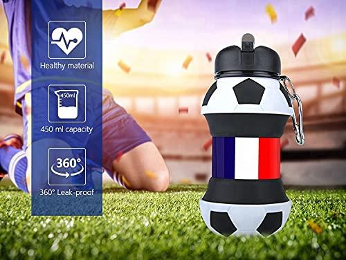 Botella Agua Silicona Diseño Fútbol - Francia - Plegable - Niños, Niñas y Adultos - Muy resistente - 550ml (France)