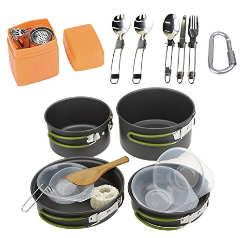 WYFDM Pots Et Casseroles De Camping 17 Pièces Backpacking Cooking Picnic Bowl Pot Set De Casseroles Kit De Batterie De Cuisine Couteau À La Cuillère Équipement De Cuisson Pot Léger Empilable