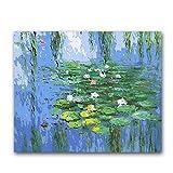 PAAANING Japanische Brücke Monet Seerosen Gemälde Malen nach Zahlen Landschaft Leinwand Zeichnung Färbung Mit Kits Paket