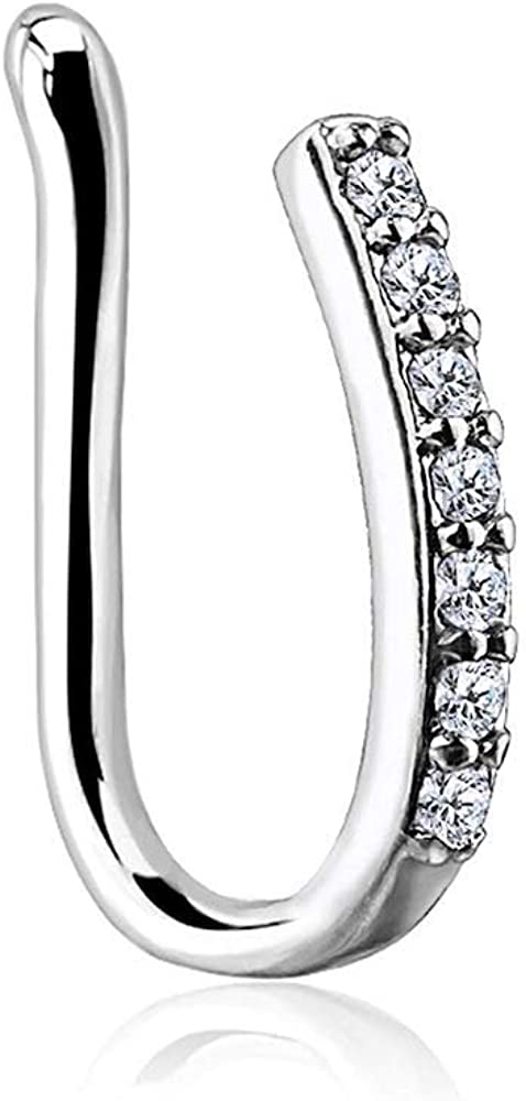 Covet Jewelry Lined CZ Set Bar Non Piercing Nose/Ear Clips