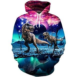 uideazone Men's Graphic Hoodie Long Sleeve 3D Print Dinosaur Personality Sweatshirts Hooded:Interoot