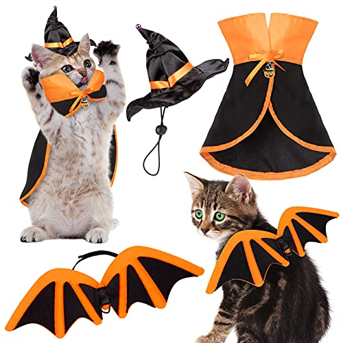 Whaline 3Pcs Halloween Pet Costume Set Witch Cloak Bat Wings Wizard Hat Orange Black Cat Cosplay...