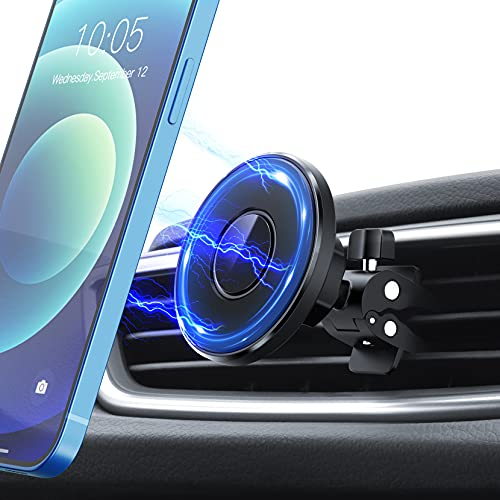 Magnetic Car Phone Mount, Strong Magnet Car Vent Phone Holder Mount Compatible with iPhone 12/12 Pro/12 Pro Max/12 Mini/MagSafe Case/11 Pro Max XS XR 8 Plus More