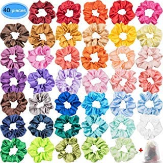 Satin Scrunchies for Hair 40 Colors, EAONE Glossy Hair Scrunchies Elastic Hair Ties Ponytail Holder Headbands for Women Girls, 40 Pieces
