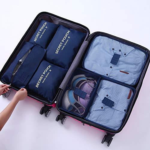 トラベルポーチ セット7点 圧縮 旅行 出張 おしゃれ 衣類収納ケース 花柄 かわいい 超軽量 大容量 小物入れ・洗面用具・シューズ用 便利 ダークブルー