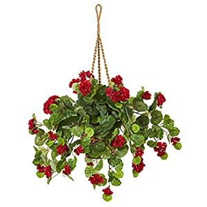 Nearly Natural 27-in. Geranium Artificial Hanging Basket Silk Plants Red