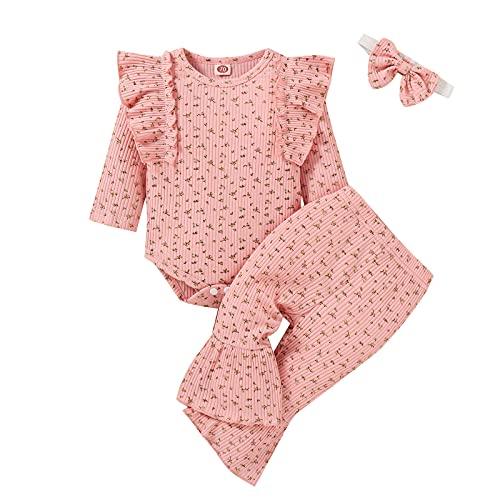 Julhold Conjunto de 3 piezas de manga larga con estampado floral y volantes para el otoo y el invierno para nias pequeas, pantalones y diademas, 6  18 meses, rosa, 6 mes