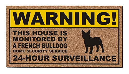 ThisWear Funny Pet Gifts Warning French Bulldog Doormat Home Security Frenchie Dog Decor Doormat Multicolor